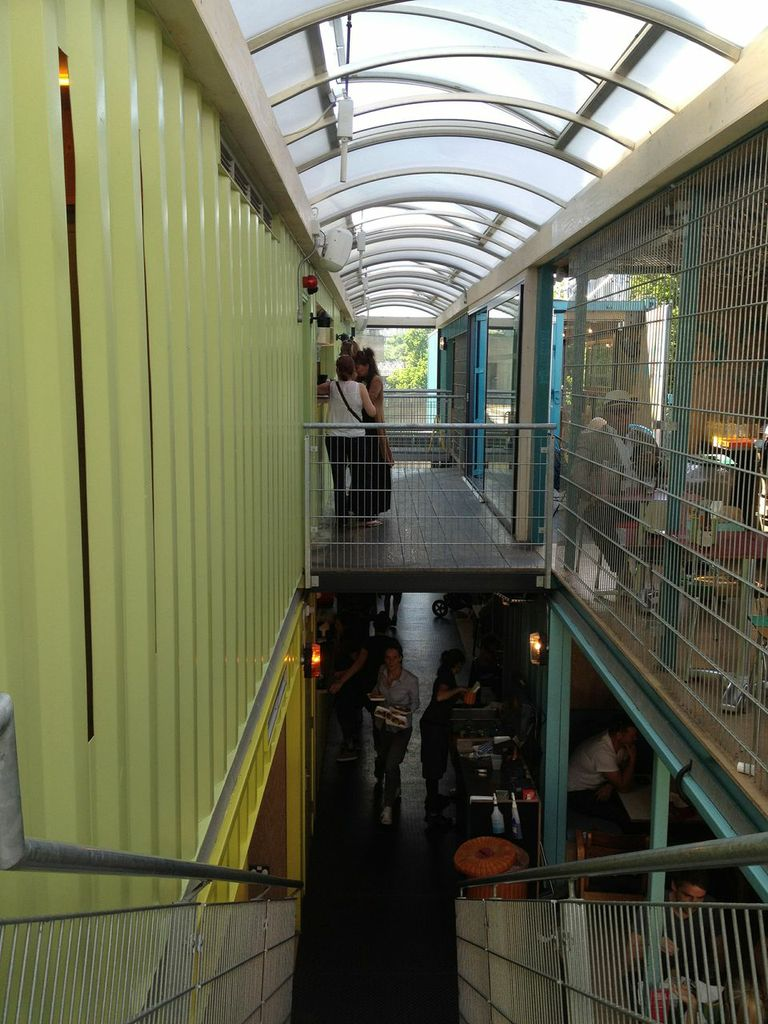 Shipping container restaurant conversion wahaca on london southbank - Wahaca shipping container restaurant ...