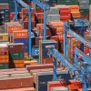 used shipping containers in port 2