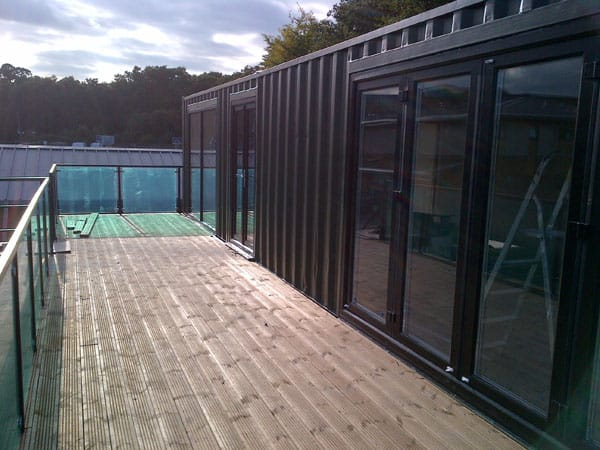 school classroom container conversion patio