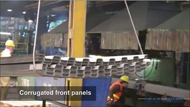 How shipping containers are made - Front panel assembly