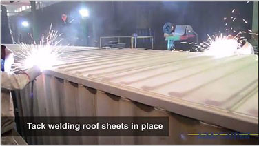 How shipping containers are made - Roof sheet is welded