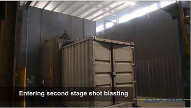 How shipping containers are made - second stage shot blasting