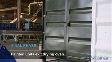 How shipping containers are made - units exit the paint oven