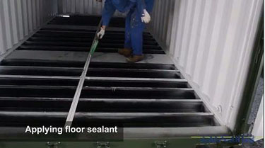 How shipping containers are made - Floor sealant applied