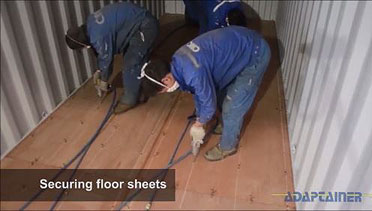 How a shipping container is made - floor sheets are fitted