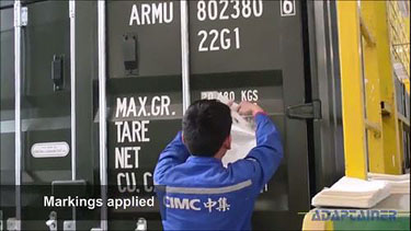 Hoe shipping containers are made - markings are applied