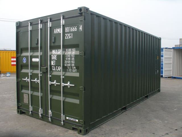 RAL 6007 shipping container
