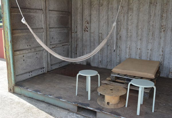 pop up shipping container with hamock