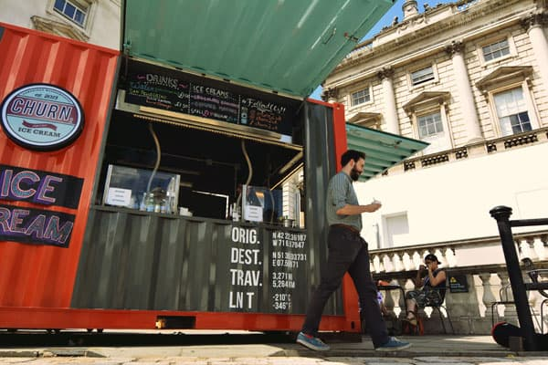 pop-up cafe made from shipping container