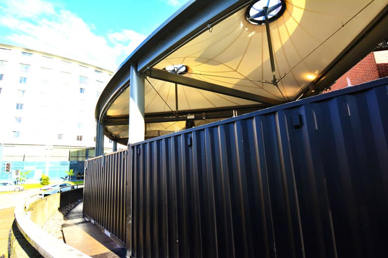 Watford Market shipping container canopy