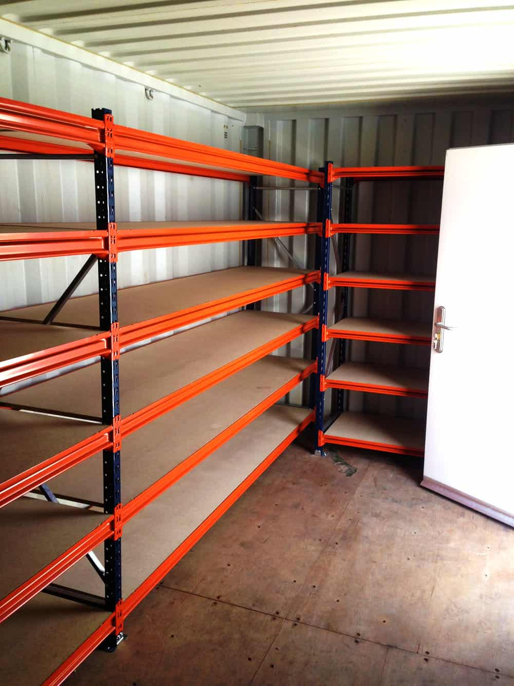 Shelving for shipping containers racking