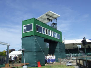 shipping container press box conversion
