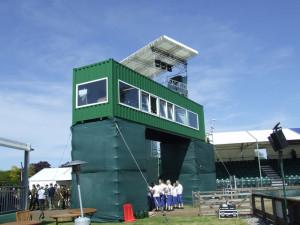 shipping container press box conversion